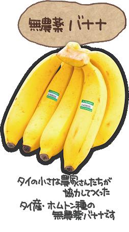 無農薬バナナタイの小さな農家さんたちが協力してつくったタイ産・ホムトン種の無農薬バナナです。