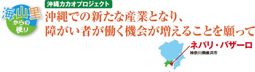 海・山・里からの便り 沖縄カカオプロジェクト 沖縄での新たな産業となり、障がい者が働く機会が増えるこことを願って